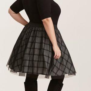 Plaid Print Mesh Tulle Mini Skirt Torrid NWT